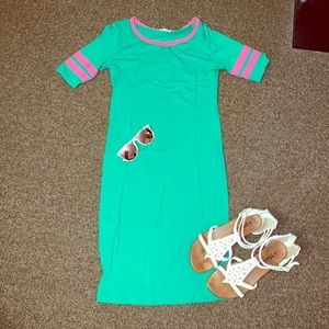 Lu La Roe Julia dress: watermelon colors. Like new